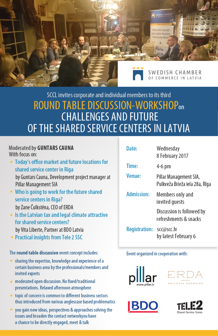 Round table discussion flyer - Round Table Discussion On Challenges Future Of Shared Service Centers In Latvia